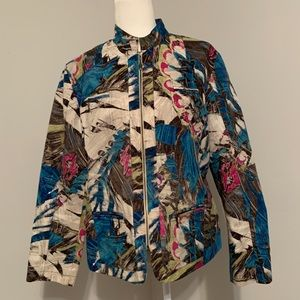 CHICO'S Multicolored Abstract Zip Up Blazer